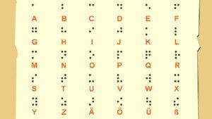 Das Prinzip der Blindenschrift lässt sich übrigens auf alle Sprachen der Welt anwenden - auch auf Zahlen und Musiknoten.